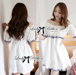 DR-LR-109 Lady Julia Sweet Feminine Off-Shoulder White Embroidered Dress