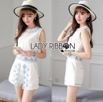 Lady Janet Blue and White Embroidered Cropped Top and High-Waist Shorts Set L272-7902