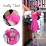 3Colorful Dress with Ribbon Back สีชมพู S140-75C08