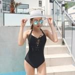 SM-V1-626 ชุดว่ายน้ำวันพีช สีดำ หน้าอกถักร้อยสายโบว์ sexy