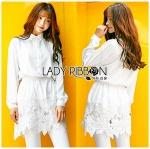 Lady Aurelie Minimal Chic Cotton Long Shirt with Lace Trim L247-69C06