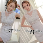 DR-LR-129 Lady Kelly Haute Glam Flowery Dress in White