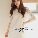 DR-LR-126 Lady Nadia Classic Lace Dress in White