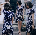DR-LR-103 Lady Elena Minimal Chic Flower Print Dress
