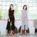 Top+High waist cropped trouser Set