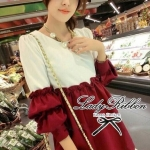 DR-LR-029 Lady Karina Chic and Stylish Two Tone Blouse (สีแดง)