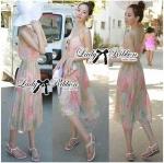 Lady Fiona Summer Colourful Chiffon Pleated Maxi Dress L137-69C11