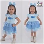 Whale Dress ชุดเดรสเด็กสีฟ้า แถมฟรีพร้อมคาดผม