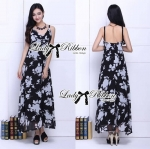 Lady Elisa Monochrome Embellished Graphic Printed Maxi Dress L145-75C08