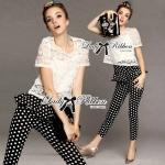 Lady Rose Lace Blouse and Polka Dots Peplum Pant Set L131-79C07
