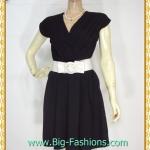 1977ชุดแซกทำงาน เสื้อผ้าคนอ้วนดำตัเกล็ดป้ายกลางอกสไตล์เรียบเก๋กระโปรงย้วยเล็กน้อย