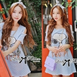 DR-LR-123 Snoopy Playful Polka Dots Denim Open-shoulder Mini dress