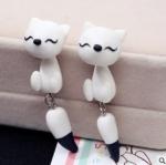 ต่างหู แฮนด์เมด 3 มิติ ลูกแมวสีขาว