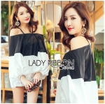 Lady Stella Minimal Monochrome Off-Shoulder Cotton Long Top L259-5919