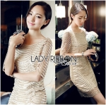 Lady Nicole Sophisticated Golden See-through Laser-cut Sequin Dress L214-89C03