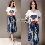 Lady Katie Asian Embroidered and Embellished Top and Printed Mini Skirt with Belt Set L176-95C09