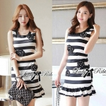 DR-LR-117 Lady Camelia Embellished Striped Ruffle Dress