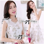DR-LR-127 Lady Rachel Sweet Angel Flowery Dress in White