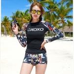 SM-V1-667 ชุดว่ายน้ำแขนยาว โทนสีดำ ลายสวย Love_XOXO