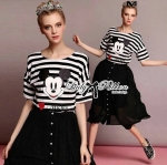 Muico Mickey Mouse Screening Striped Top and Flared Midi Skirt Set