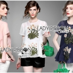 Lady Margaret Spring Floral Embroidered Chiffon Peplum Top L258-6906