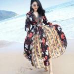 แม๊กซี่เกาหลี+ผ้าคาดเอวเนื้อผ้าอิตาลี่พิมพ์ลายดอก