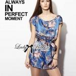 Lady Julia Electric Blue Floral Print Polyester Jumpsuit L127-69E08