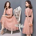 Lady elegant pink lace dress + belt by Aris Code A253-856804