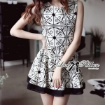 DR-LR-087 Lady Avril Minimal Chic Swirl Print Dress