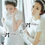 DR-LR-086 Lady Paula Sweet Chic Flowery White Dress