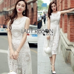 Lady Katy Smart Casual White Guipure Lace Jumpsuit L272-8917