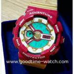 นาฬิกาข้อมือ us submarine 2ระบบ (ดิจิตอล&เข็ม) สีแดงทองแวว รุ่น Iron Man กันน้ำ 30 เมตร
