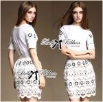 Chloe Lace T-Shirt and Lace Skirt Ensemble Set L163-79C08