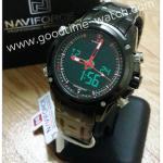 นาฬิกาข้อมือ naviforce (ดิจิตอล&เข็ม) สายเหล็กสีดำ จอดำ เข็มแดง กันน้ำ 30 เมตร พร้อมกล่อง