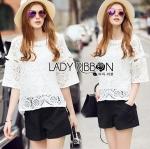 Lady Natasha Classic Vintage Lace Blouse with Cotton Ribbons L257-69C08