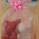 กระปุกพริกไทยเซรามิกกระต่ายนั่งคู่หูตรง