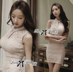 DR-LR-133 Lady Clare Classic Elegant Pearl Lace Dress
