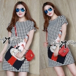DR-LR-140 Lady Andy Edgy Surreal Print and Embellished Houndstooth Dress