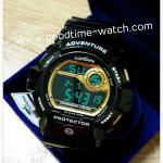 นาฬิกาข้อมือ us submarine ระบบดิจิตอล สีดำทอง กันน้ำ 30 เมตร