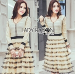 Lady Martina Elegant Deminine Ruffle Layered Maxi Dress maxi L274-10901