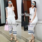 Lady Adriana Casual Feminine Lace Cropped Top and Pants Set L275-7501
