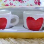 แก้วหัวใจสองด้านเลือกสีได้แพ็คคู่พร้อมกล่องทอง