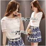 Lady Helena Sweet Casual Lace Top and Printed Skirt Set L162-85E01