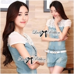 Lady Gabby Insert Lace Embellished Button-Down Denim Playsuit L167-85C07