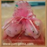 กระปุกพริกไทยเซรามิกแมวเพ้นบนจานรอง
