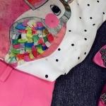 เสื้อแขนกุดลายนก +กางเกงขาสั้นสีชมพู