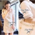 DR-LR-042 Lady Eleanor, Pearly Embellish Tweet Mini dress