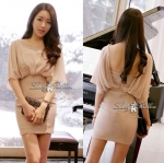 DR-LR-066 Ribbon Back Nude Mini dress
