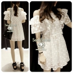 DR-LR-052 Korea White Off-Shoulder Woven Flora Dress