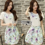 Lady Sasha Sweet Feminine Embroidered White Top and Floral Printed Blue Skirt Set L181-75C08